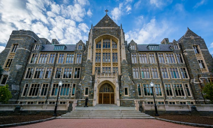 white gravenor hall at georgetown university in washington dc