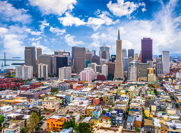A view of the San Francisco city skyline on a clear, sunny day