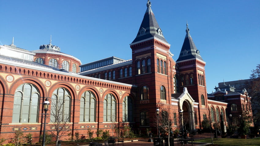 a view of the beautiful Smithsonian museum castle in Washington DC
