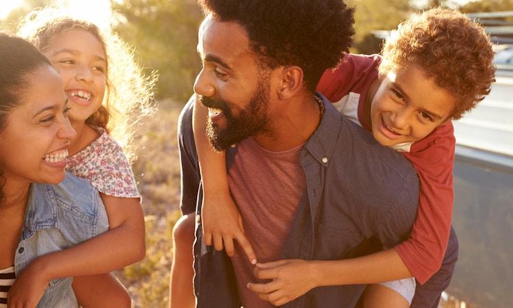 a happy family explores Houston