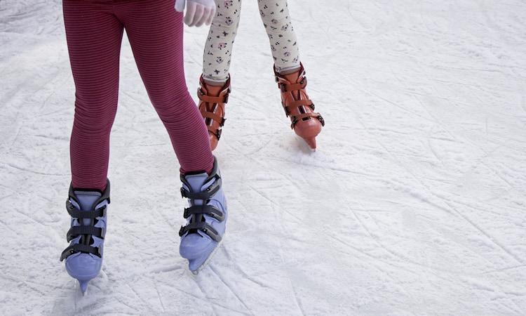 children skate at the Galleria Ice Rink in Houston