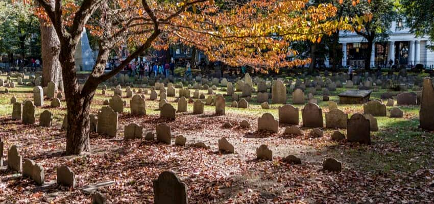 Graveyard in Boston during fall