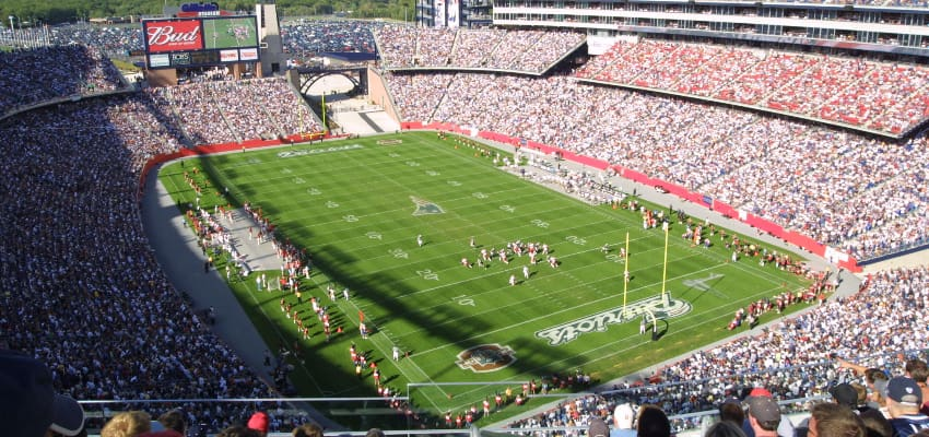 new england partiots game day at packed gillette stadium