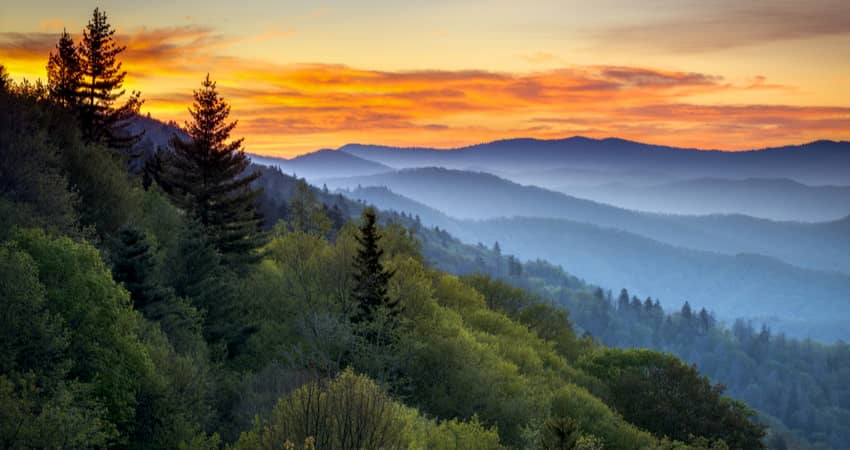 view across the Great Smokey Mountains at sunset