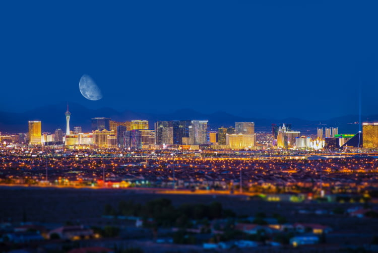 the Las Vegas skyline viewed at night from a distance