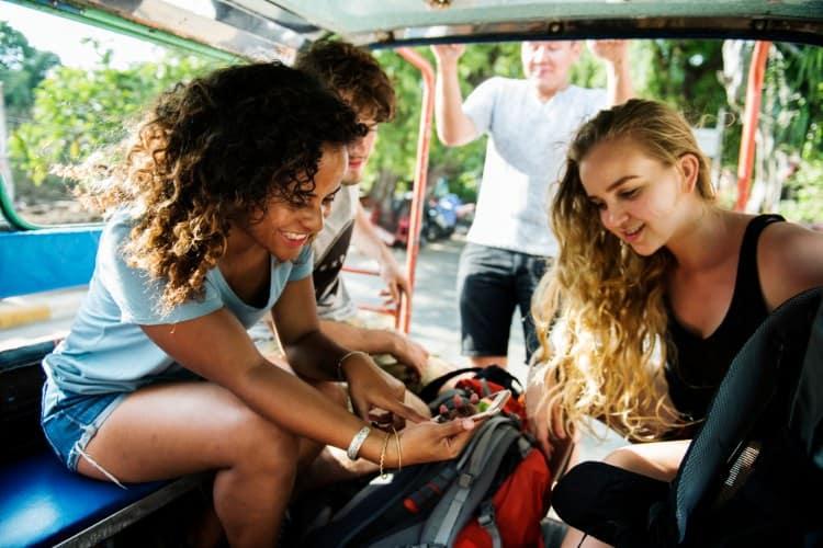 Girls on a minibus