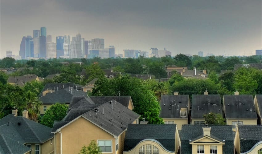the Houston skyline viewed from the Montrose neighborhood