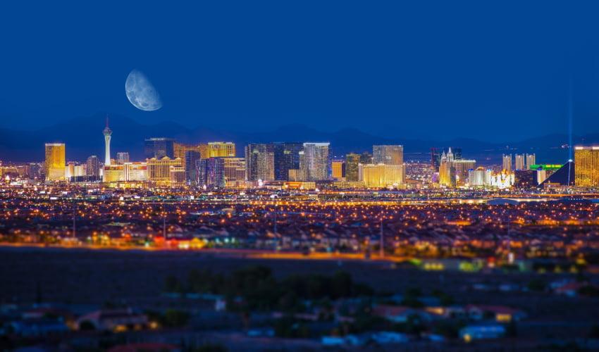 the Las Vegas skyline at night time