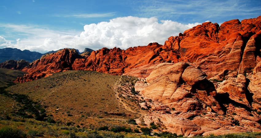 wide panoramic view of red rock canyon in las vegas