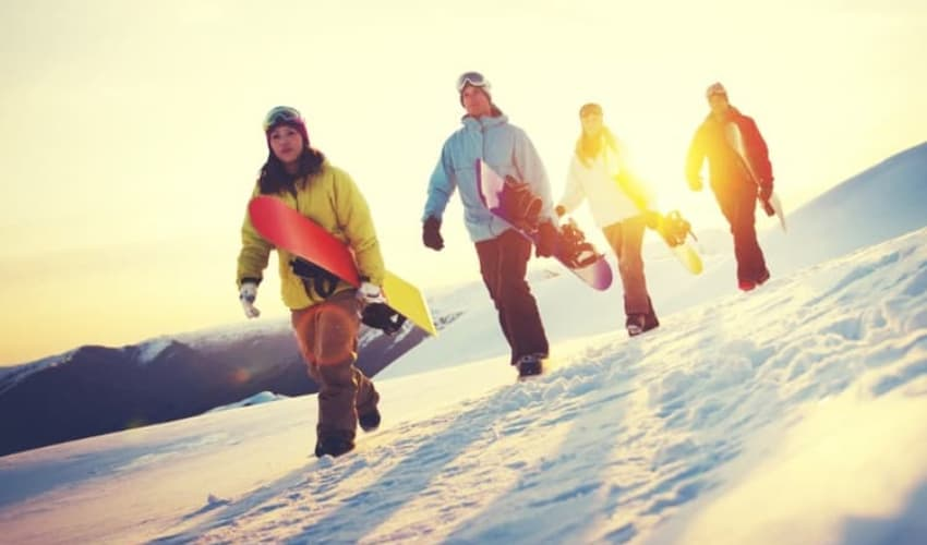 A group of snowboarders in Washington DC