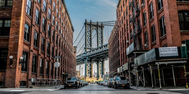 view of the manhattan bridge from dumbo in brooklyn in new york city
