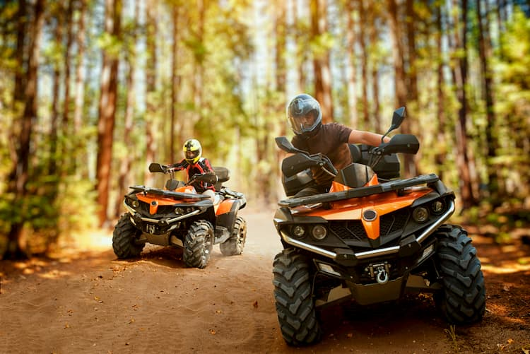 Two atv riders speed race in a forest
