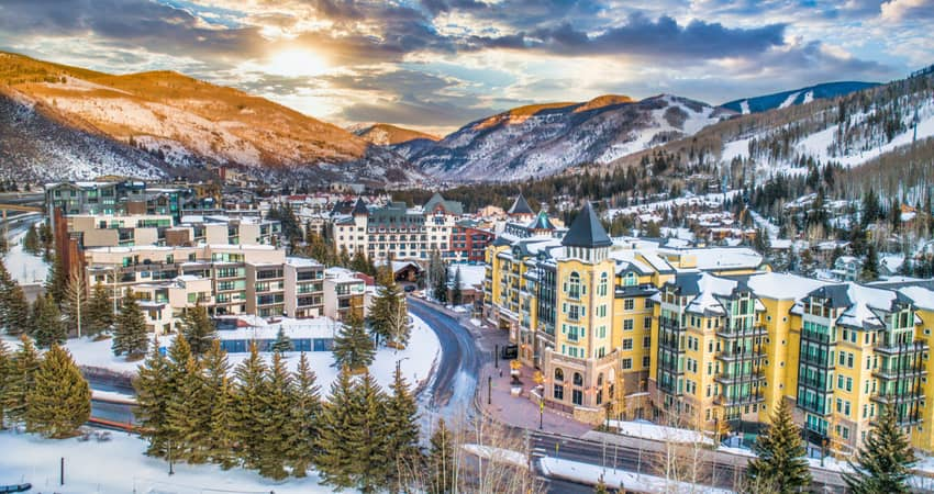 an aerial view of Vail in the sunset