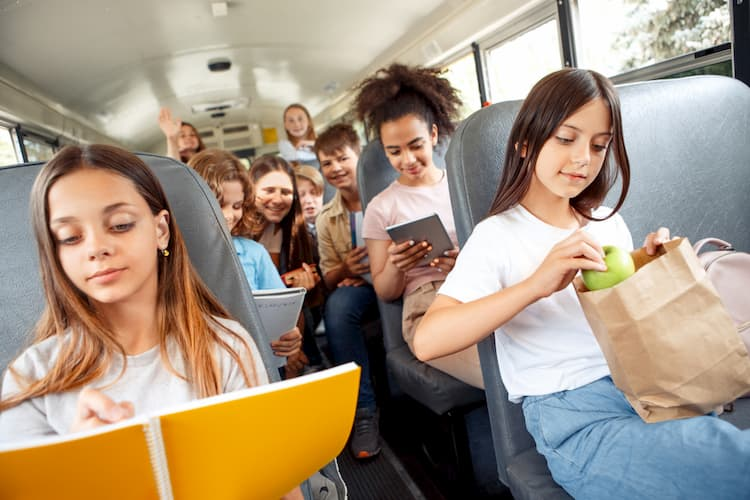 Kids on bus for field trip