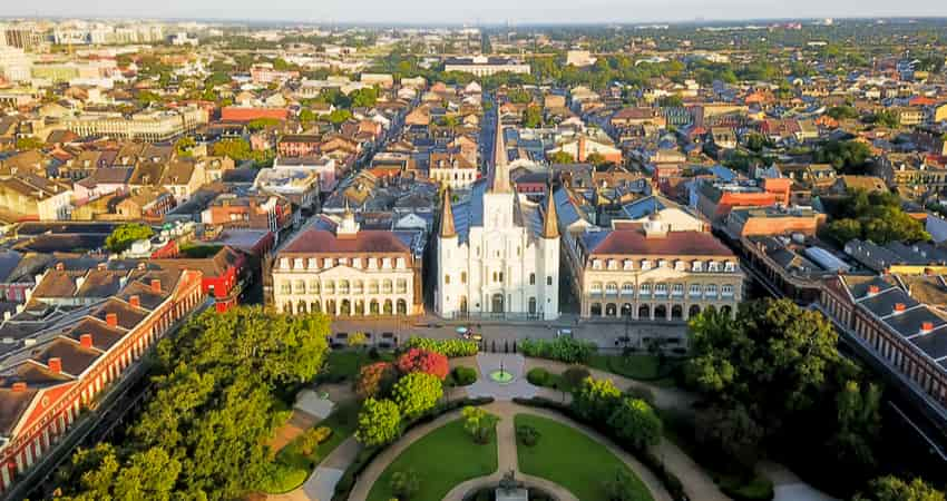 An aerial view of Jackson Square in New Orleans