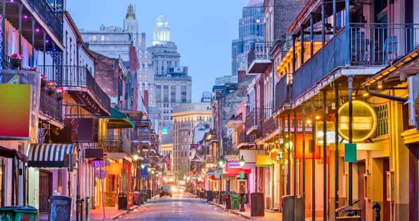 The French Quarter at dusk