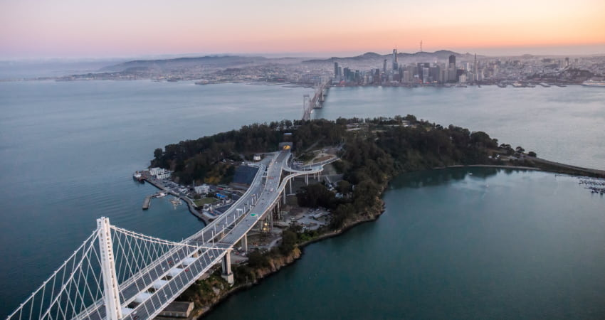 aerial view of Treasure Island in San Francisco