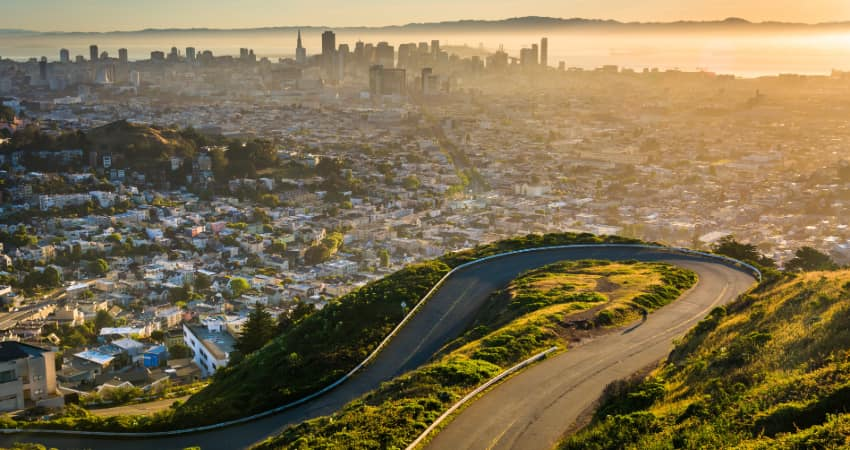 The view from Twins Peaks in San Francisco at sunrise