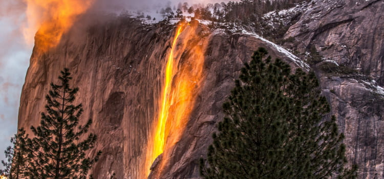 a view of horsetail fall during sunset, when the water looks like fire