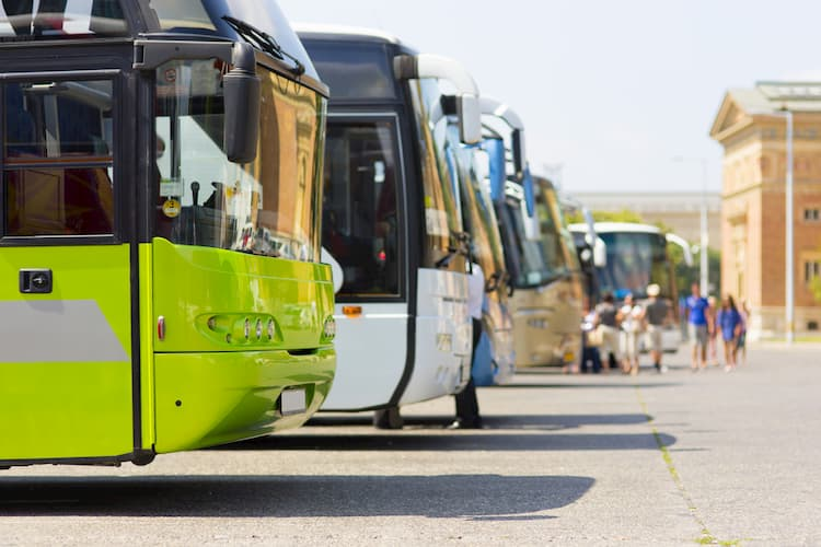 Line of charter buses