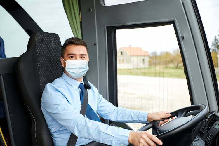 Bus driver wearing mask