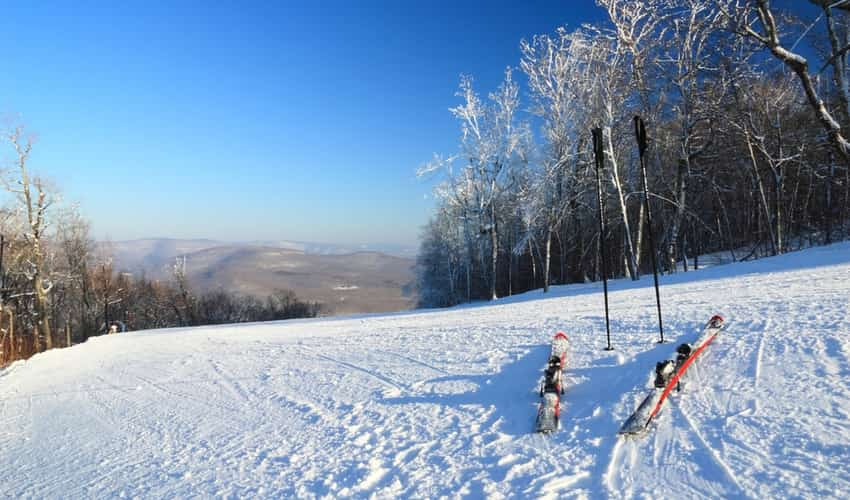 Ski poles in the snow at Belleayre Mountain Ski Resort