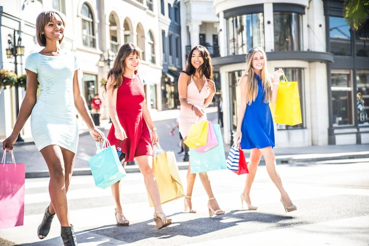 Four women shopping in Beverly Hills