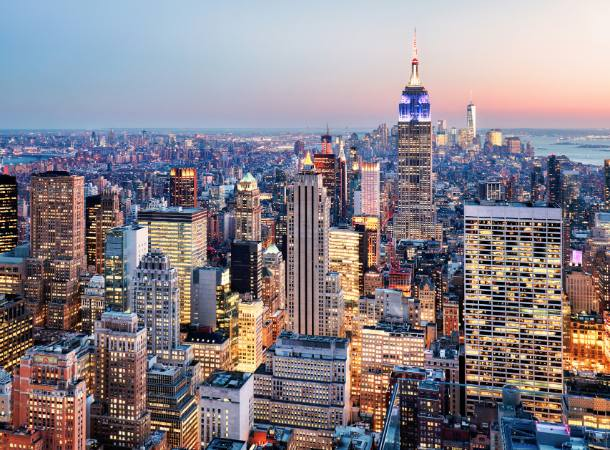 An aerial view of the New York City skyline