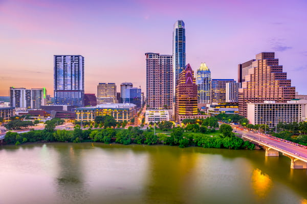 The Austin city skyline in the evening.