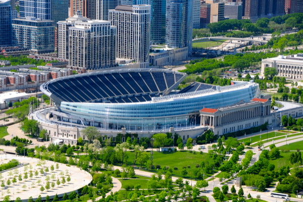 An aerial view of Soldier Stadium in Chicago