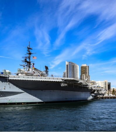 The USS Midway ship floating in the water