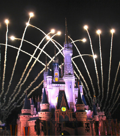 Fireworks illuminate the night behind the castle at Disney World in Orlando