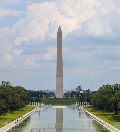 The Washington Monument and reflecting pool