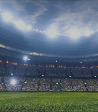 A brightly lit stadium with several fans