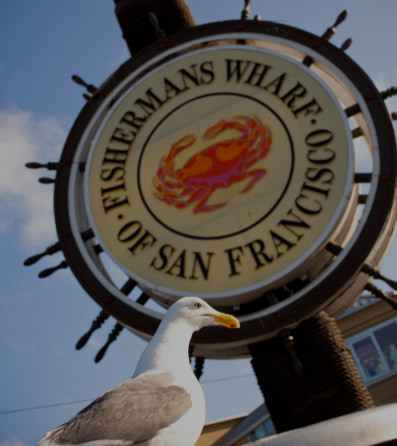 The official Fishermans Wharf sign in San Francisco