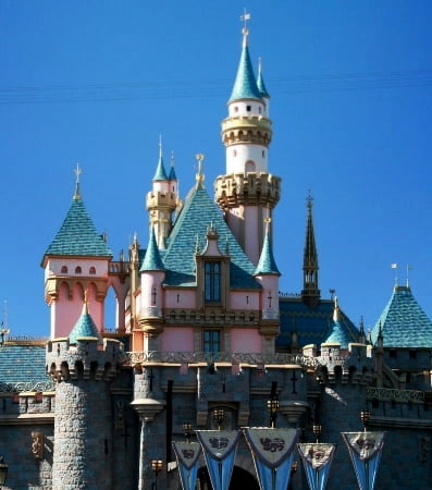 The towers of Sleeping Beauty Castle at Disneyland