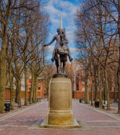 A statue of Paul Revere in the Boston Common