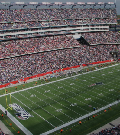 An aerial view of Gillette Stadium before the game begins