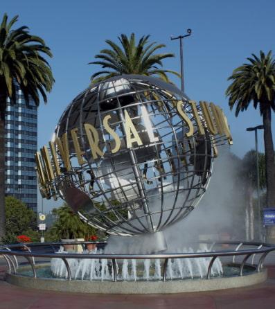 The metallic Universal Studios globe