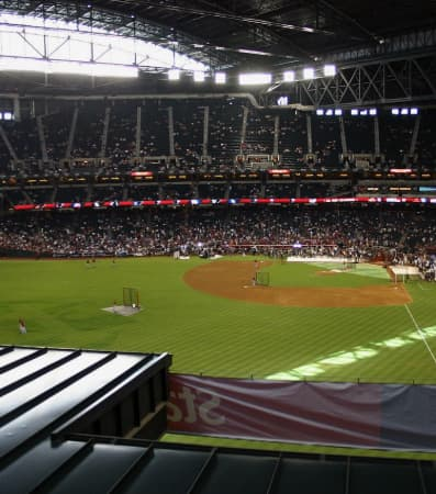 The interior of Chase Field during a game