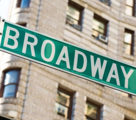 The iconic green Broadway sign