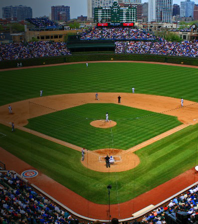 An aerial view of Wrigley Field