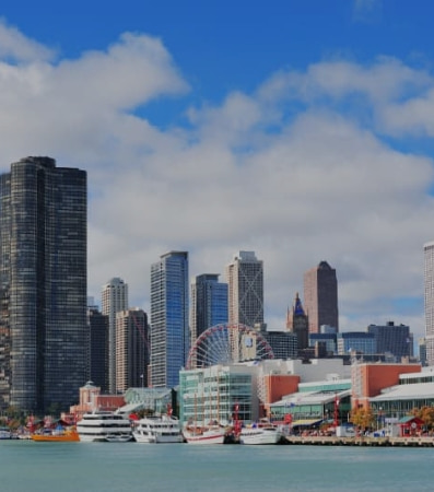 A view of Navy Pier and the Chicago cityscape on a cloudy day