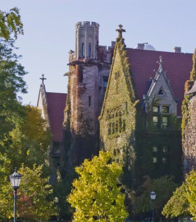 An ivy-covered building at the University of Chicago