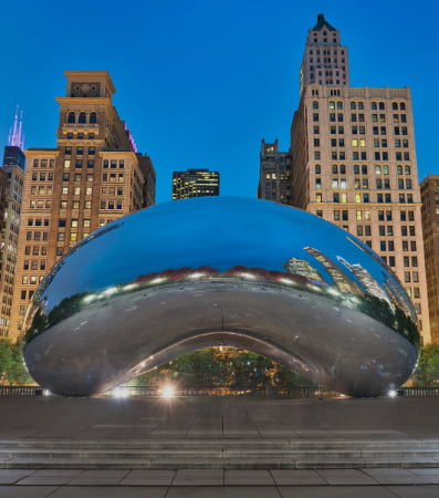 The Cloud Gate sculpture at twilight