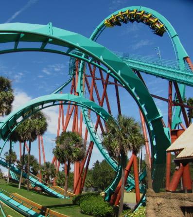 A blue rollercoaster at Busch Gardens.