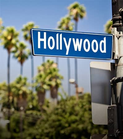 The Hollywood Boulevard street sign in Los Angeles.