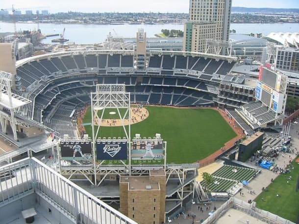 An aerial view of Petco Park in San Diego