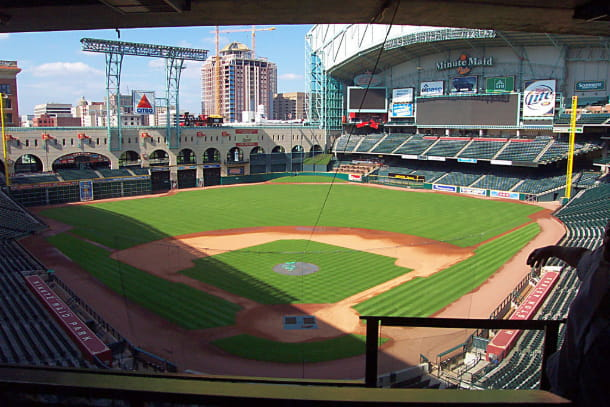 Interior of Minute Maid Park, looking out over home plate