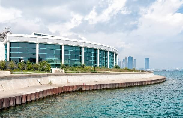 Exterior of the Shedd Aquarium in Chicago, viewed from a nearby pier